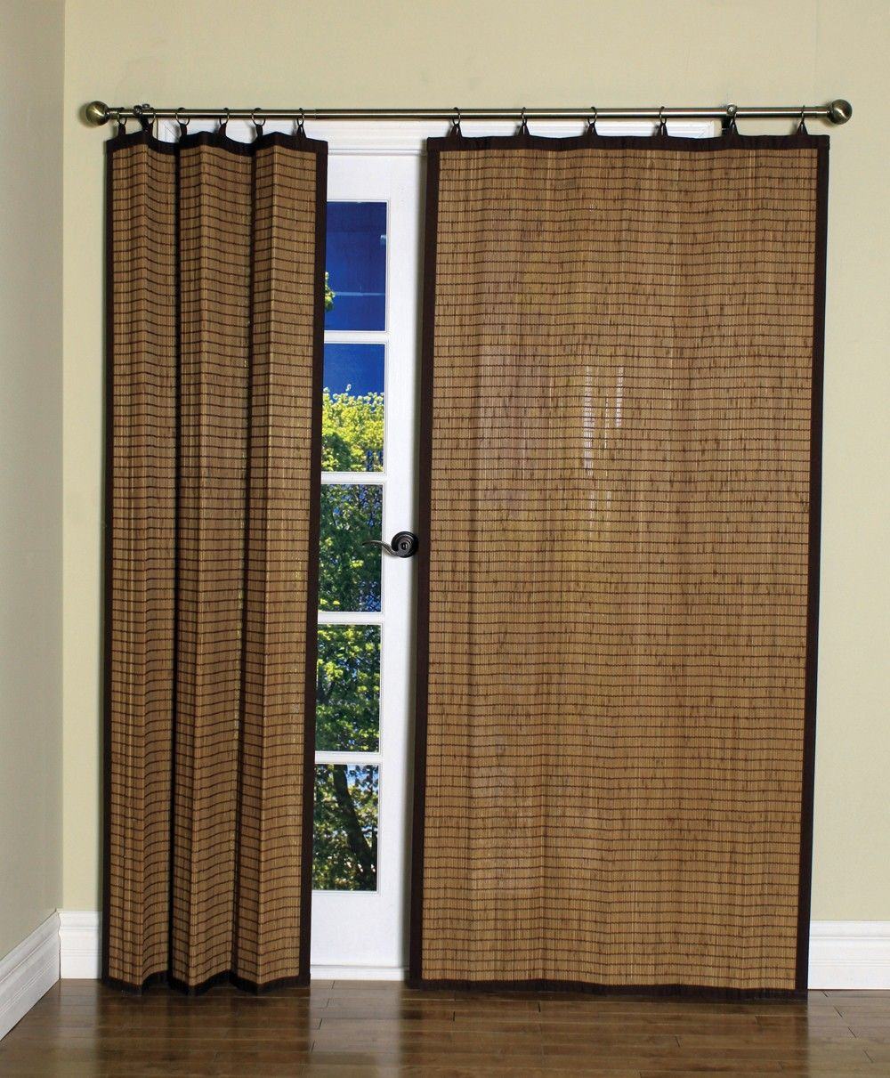 Curtain Bath Outlet Colonial Bamboo Ring Top Curtain Panel - Bamboo sliding glass door curtains