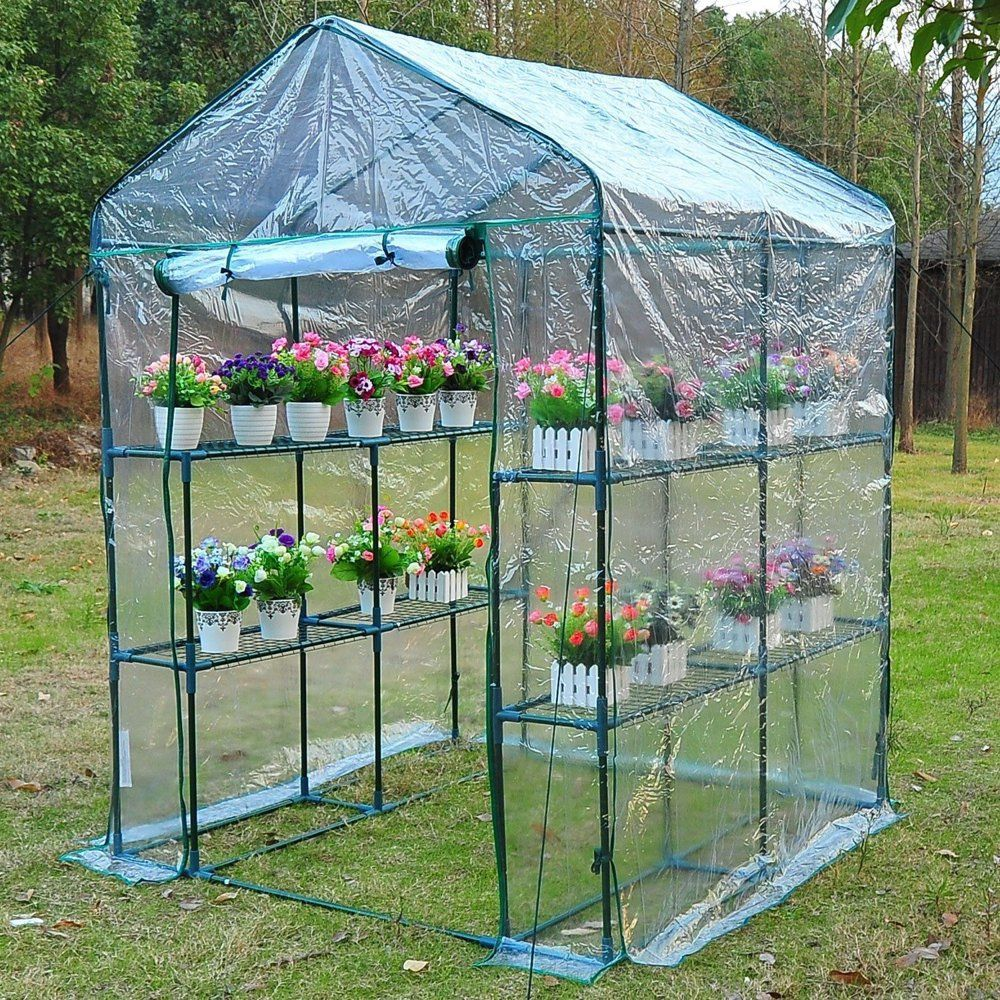 Outsunny 5 X 5 X 6 3 Tier 8 Shelf Outdoor Portable Walk In Garden Greenhouse Kit With Cover Walmart Com In 2020 Walk In Greenhouse Greenhouse Gardening Portable Greenhouse