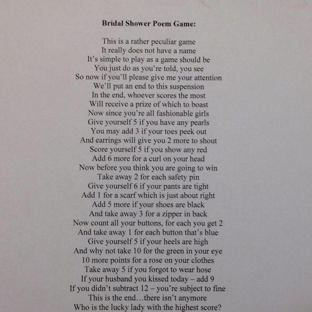 Bridal Shower Poem Game