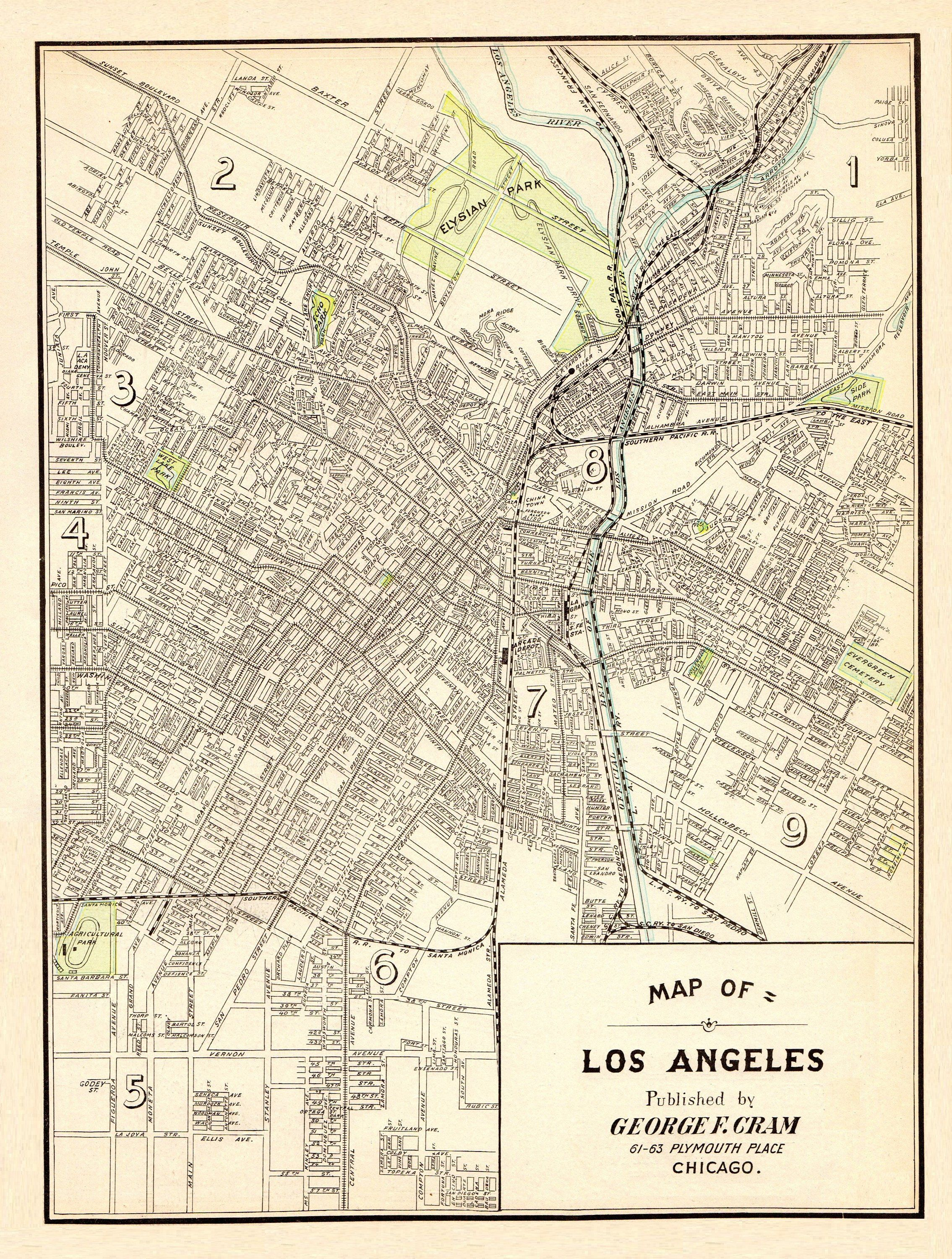 picture relating to Printable Map of Los Angeles called 1901 Antique LOS ANGELES Town Map Replica Print Los