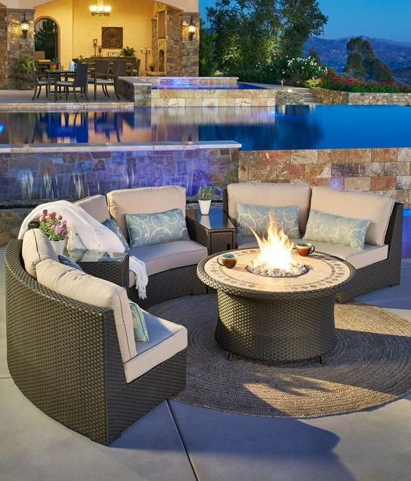 with its gas fire table and circular seating pieces the sidney 6 rh pinterest com mission hills patio furniture costco mission hills madrid patio furniture