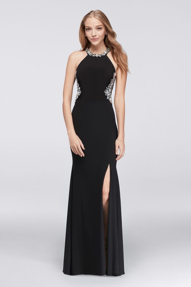 ec03bec8d4 Beaded Illusion Halter Dress with Contrast Lining - Black