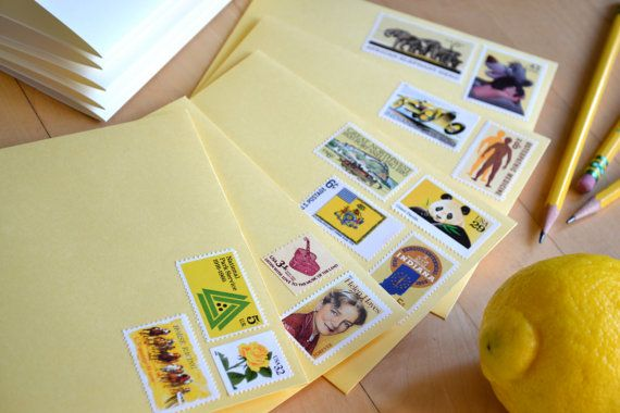 Yellow Stationery Unused Vintage Postage Stamped by EdelweissPost, $29.00