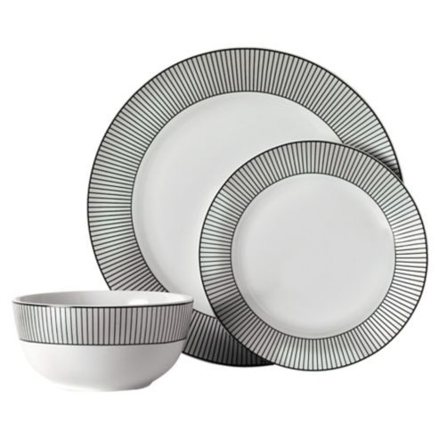Buy Tesco Pinstripe 12 Piece, 4 Person Dinner Set, White U0026 Black From Our
