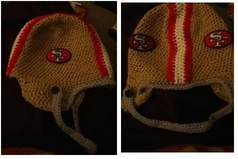 crochet niners helmet. this version has patches takes a little longer since i have to wait for the mail