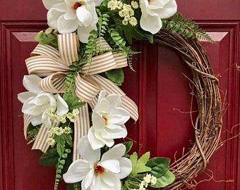 Photo of Farmhouse magnolia wreath for the front door, farmhouse decor, rustic wreath, magnolia wreath, grapevine wreath, everyday wreath for the front door