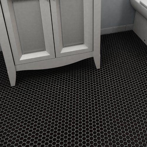 Elitetile Retro 0 875 Quot X 0 875 Quot Hex Porcelain Mosaic Tile In Matte Black Mosaic Flooring Porcelain Mosaic Black Kitchen Floor Tiles