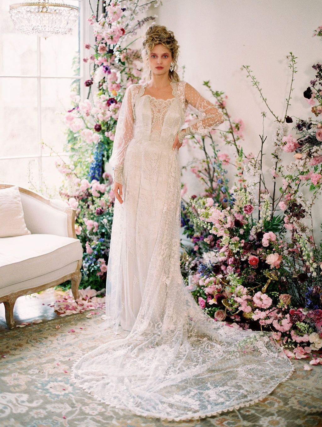 Get Ready To Daydream With Claire Pettibone S Nybfw Presentation Ruffled Vintage Wedding Romantic Wedding Dresses Vintage Wedding Dresses