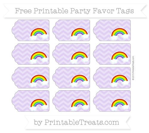 Pastel Purple Chevron Rainbow Party Favor Tags