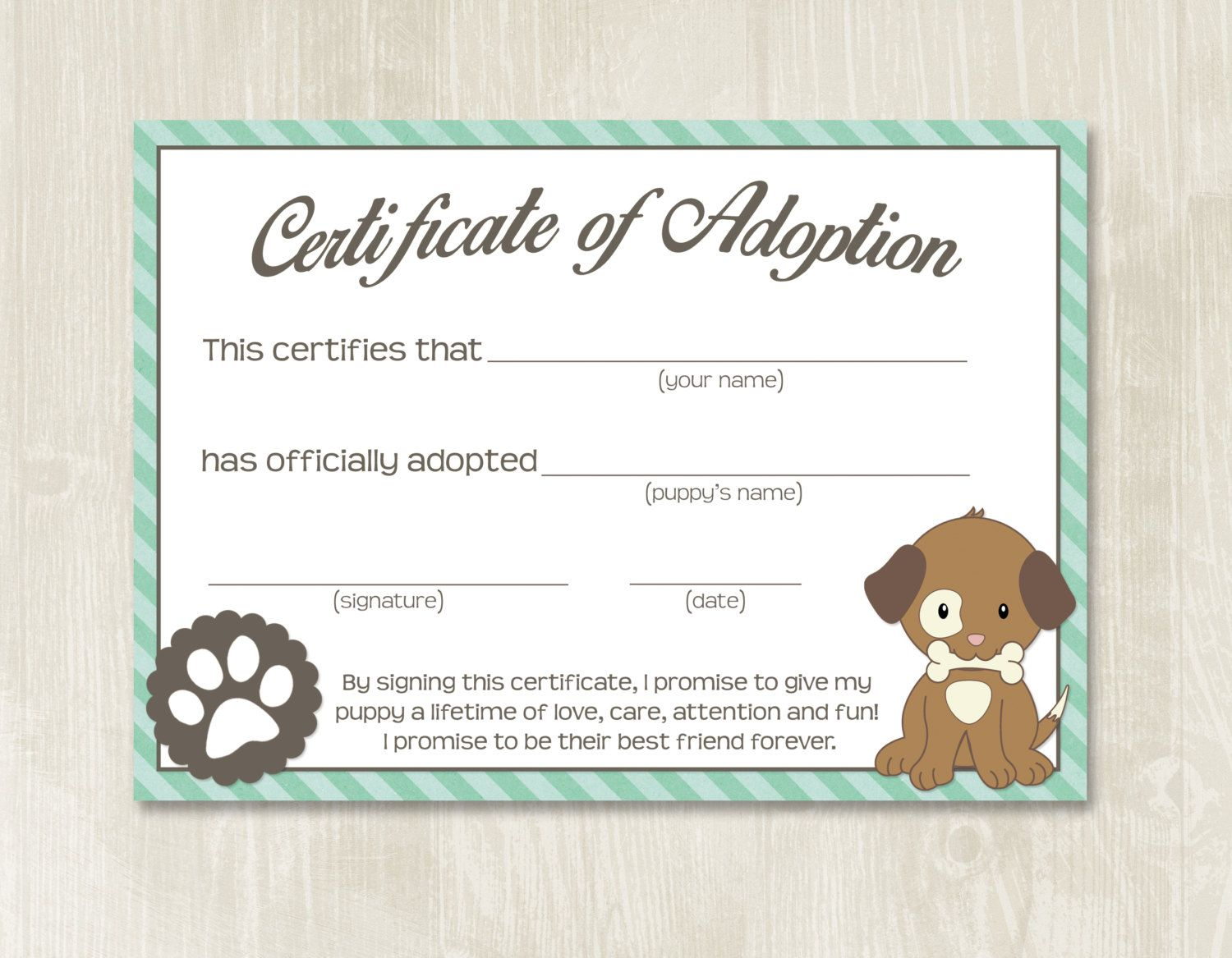 Puppy Party Adoption Certificates Instant Download Adopt Etsy Pet Adoption Certificate Adoption Certificate Dog Adoption Certificate Free pet adoption certificate template