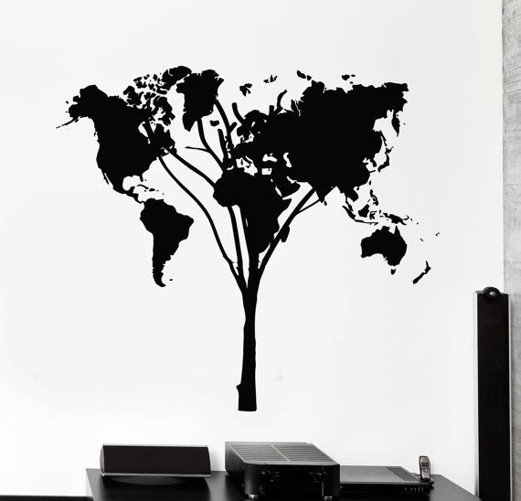 Vinyl Decal Abstract Tree Map World Earth Land Outline Tree Cool - Inspiring vinyl wall decals abstract