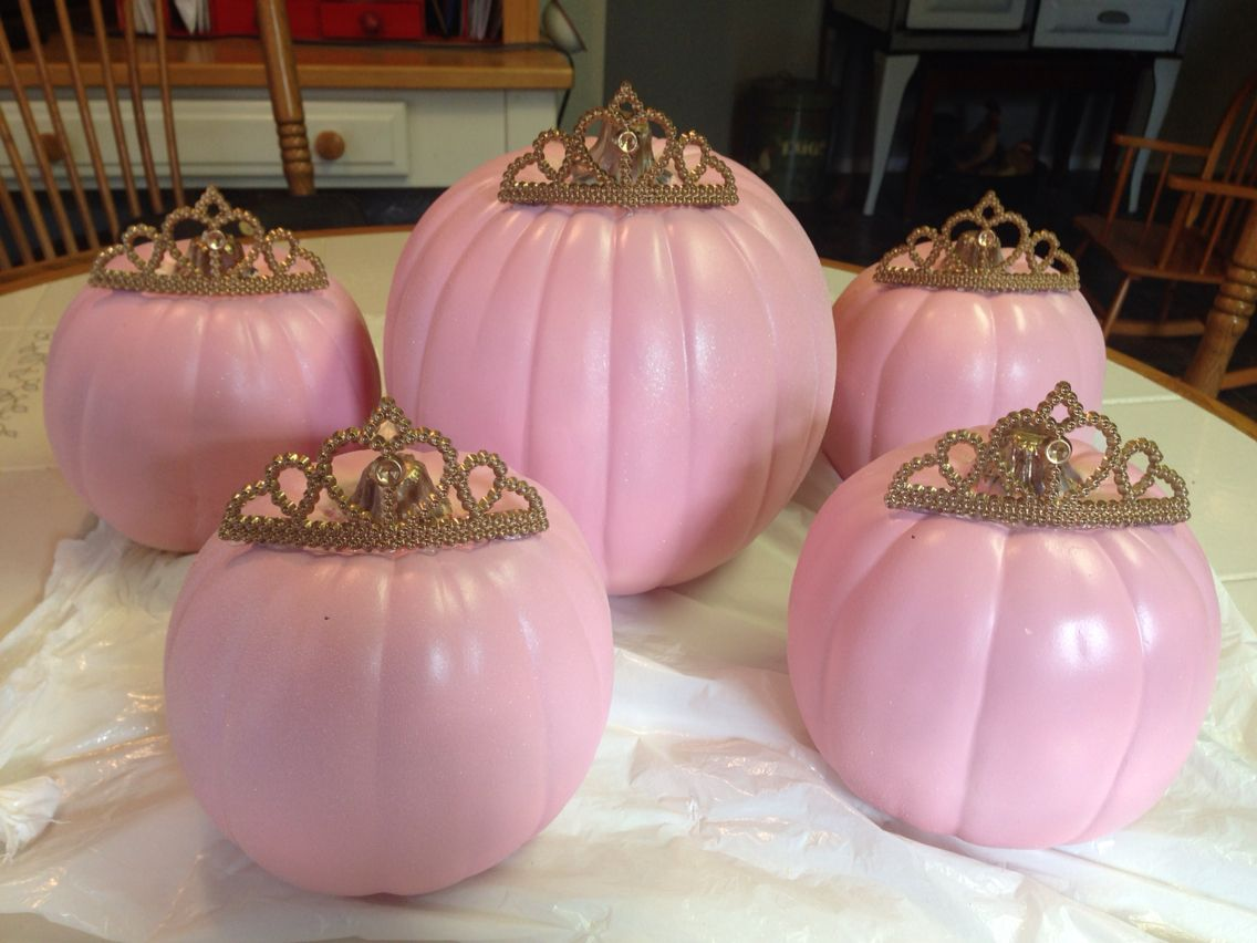 White glitter spray paint - Diy Princess Pumpkin Theme Baby Shower Spray Painted Artificial White Pumpkins Pink And Glitter