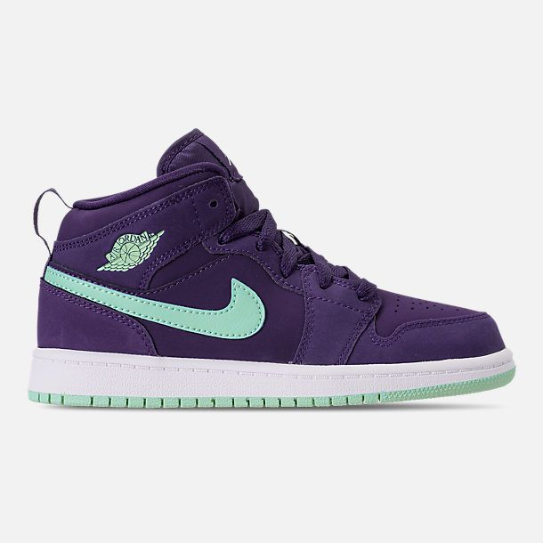 buy online 2d01f be293 Right view of Girls  Little Kids  Air Jordan 1 Mid Basketball Shoes in  Ink Emerald Rise White
