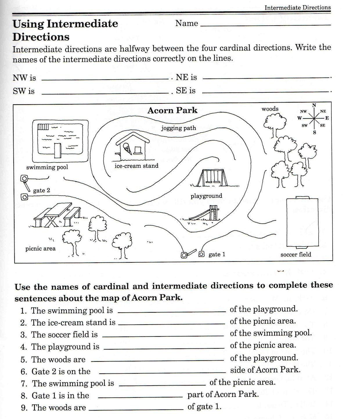 Cardinal Directions Worksheets 3rd Grade 3 Cardinal