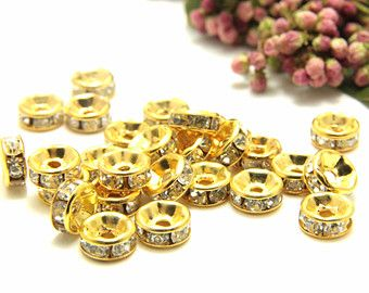 Rhinestone Rondelle Spacers, Gold Colour Rondelle, Silver Colour Rondelle, Clear Rhinestone Rondelle, A quality Stone, 4mm 6mm 8mm 10mm 12mm