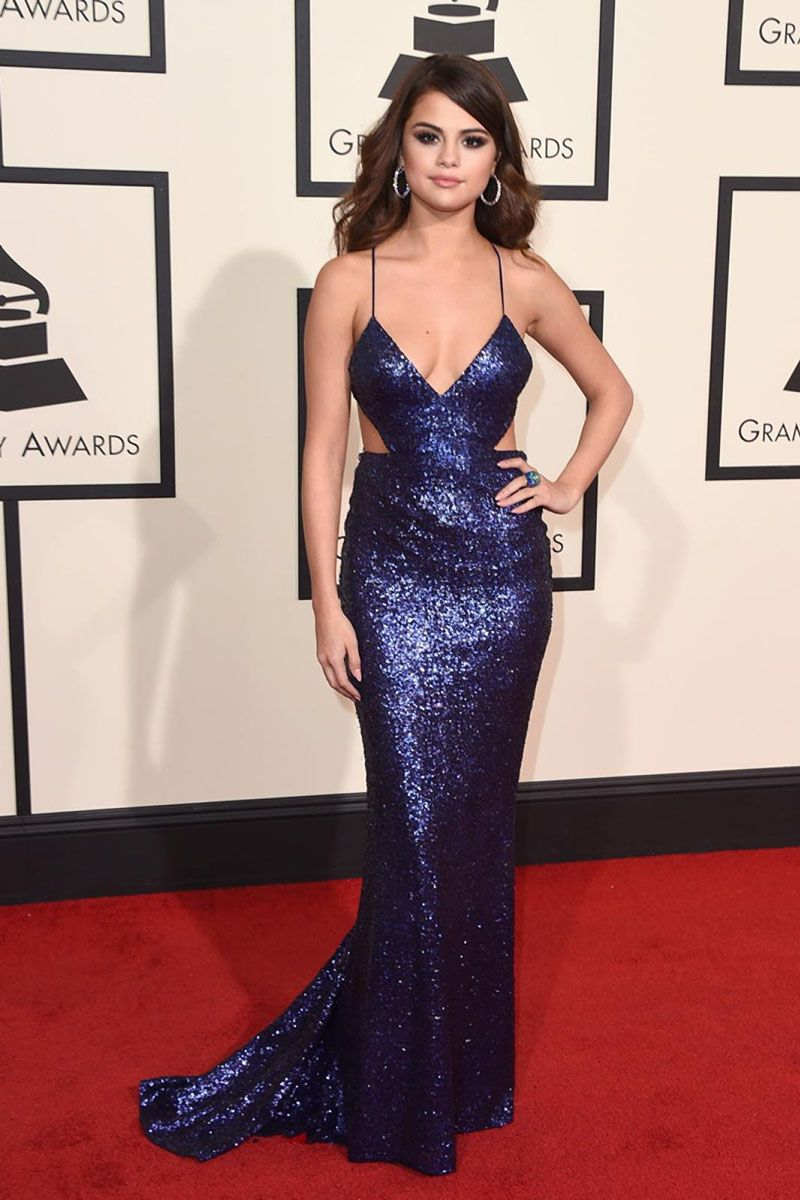 300a79f2 Selena Gomez Sequin Navy Blue Fashion Prom Dress Grammys 2016 Red Carpet