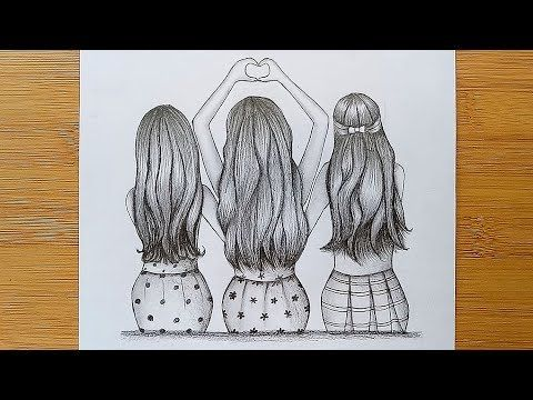 Best Friends Tutorial With Pencil Sketch How To Draw Three Friends Hugging Each Other Youtube Best Friend Drawings Bff Drawings Drawings Of Friends