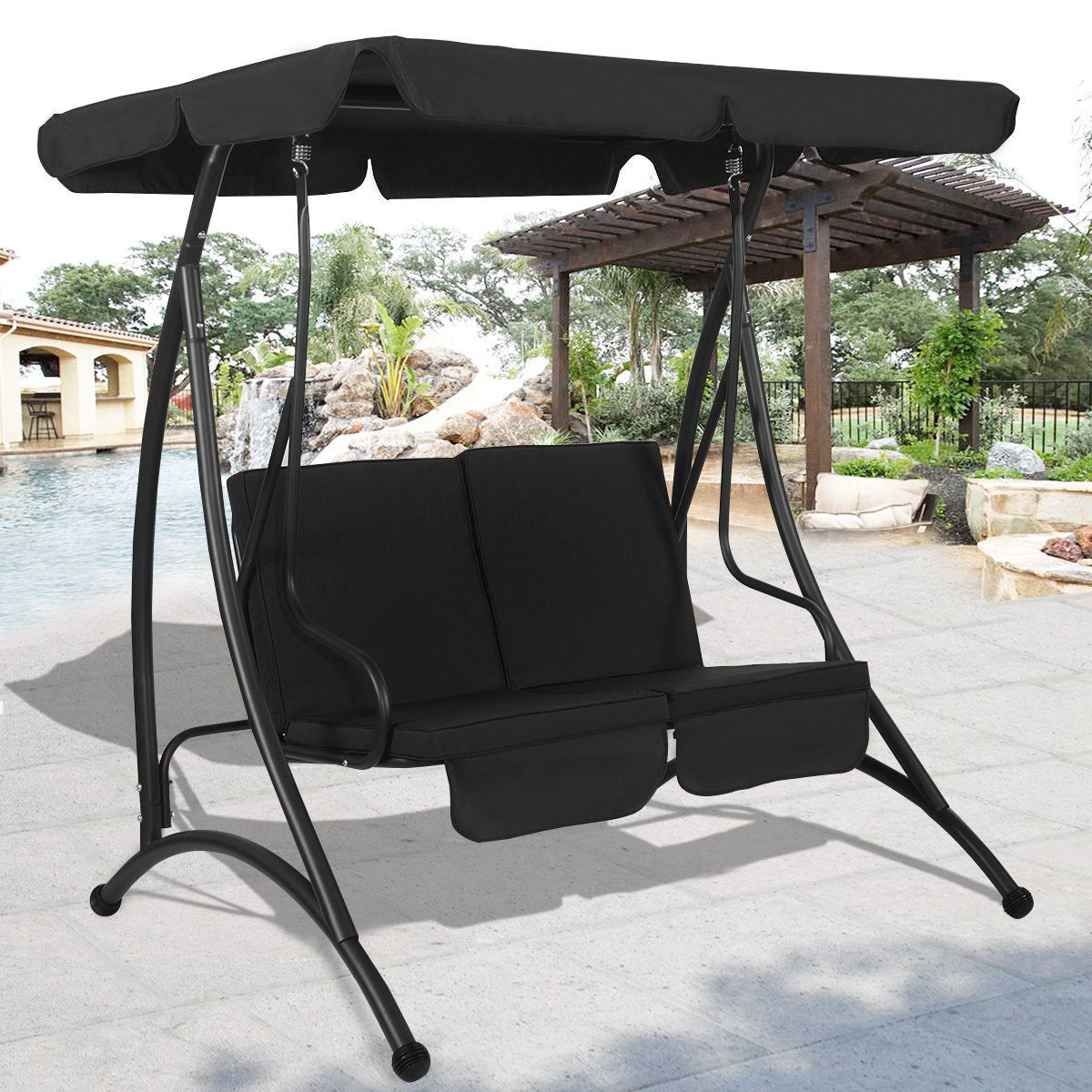 outdoor patio canopy swing chair metal 2 person garden furniture rh pinterest com