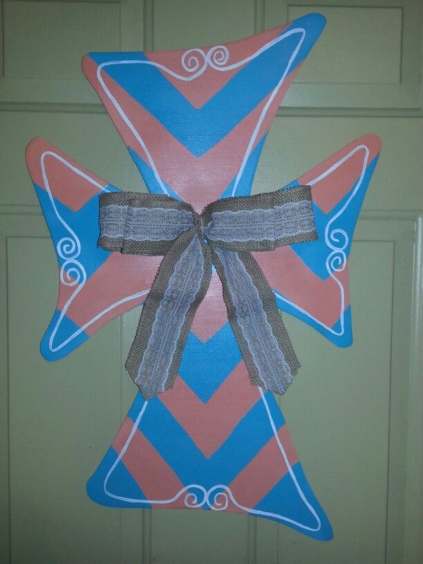 Cross with double burlap ribbon