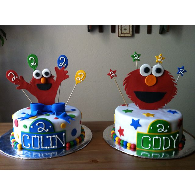 Elmo Cakes For Twin 2 Year Old Boys By Iced Out Edibles Twin