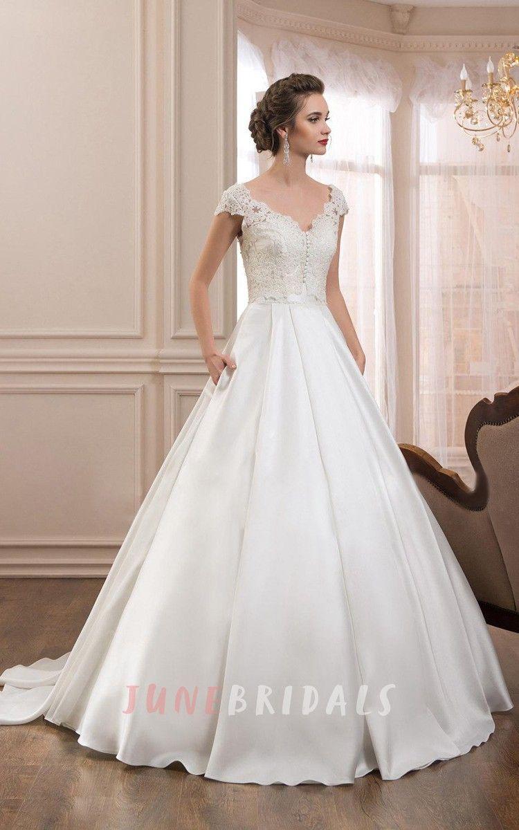 Lace cap sleeve a line wedding dress  junebridalsweddingbridalgownlongsleevewedding