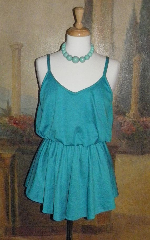 Vintage Bathing Suit, 1970s 1980s Bathing Suit, Maillot with Skirt $28.00