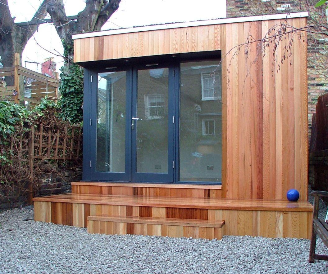 Garden Room Doors: Small Garden Room With Grey UPVC French Doors And Western