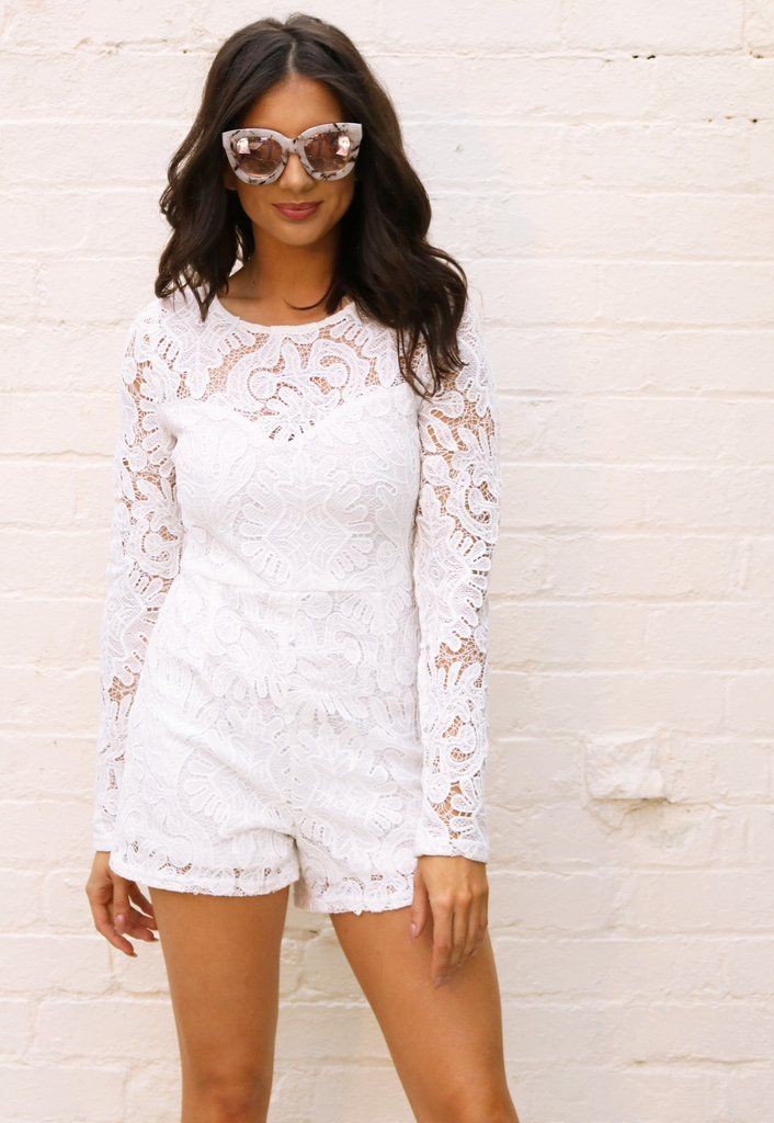 dae3add6ed2 Long Sleeve Lace Playsuit with Sweetheart Insert in White