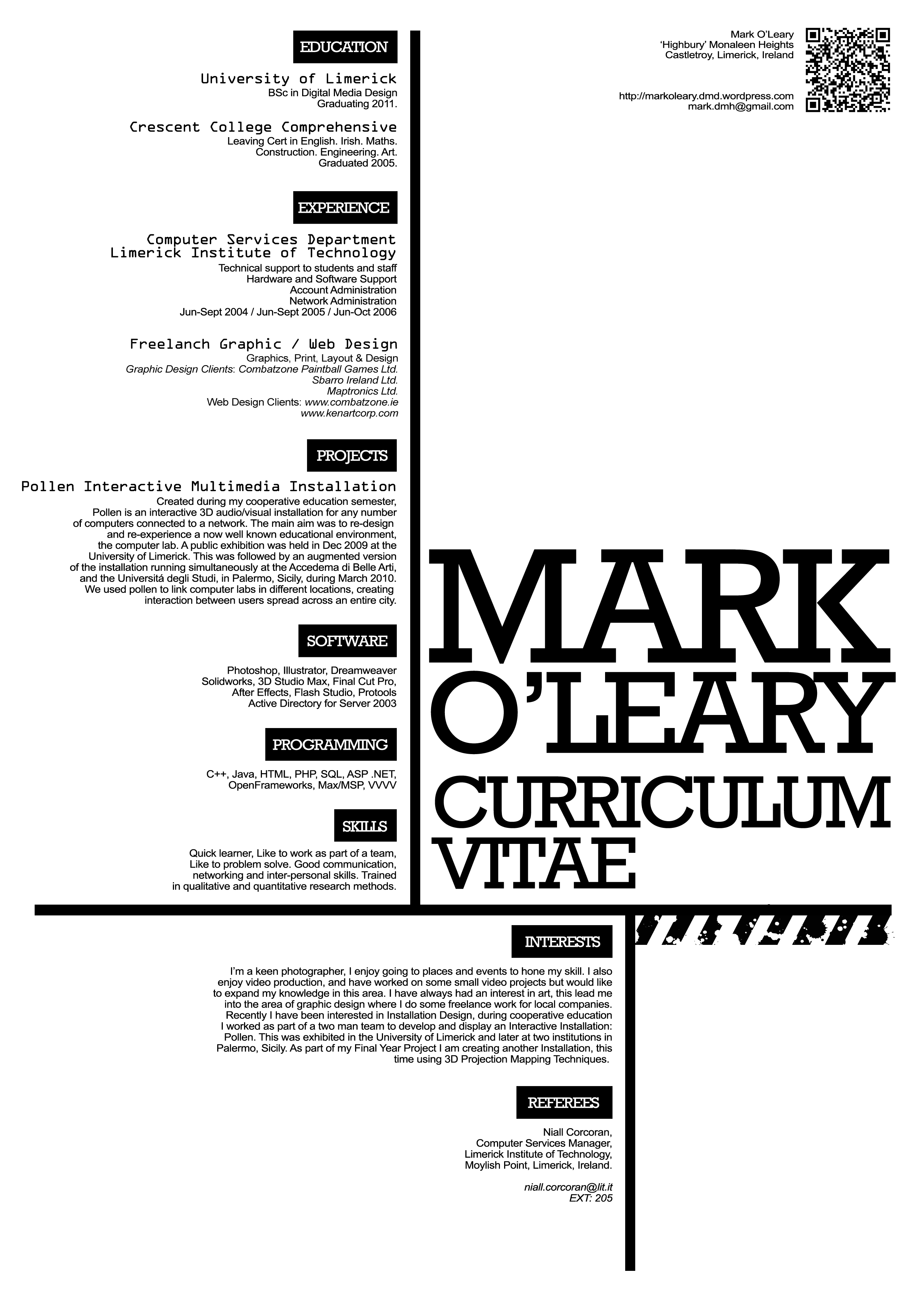 Curriculum Vitae Design | Typography, Creative cv and Cv ideas