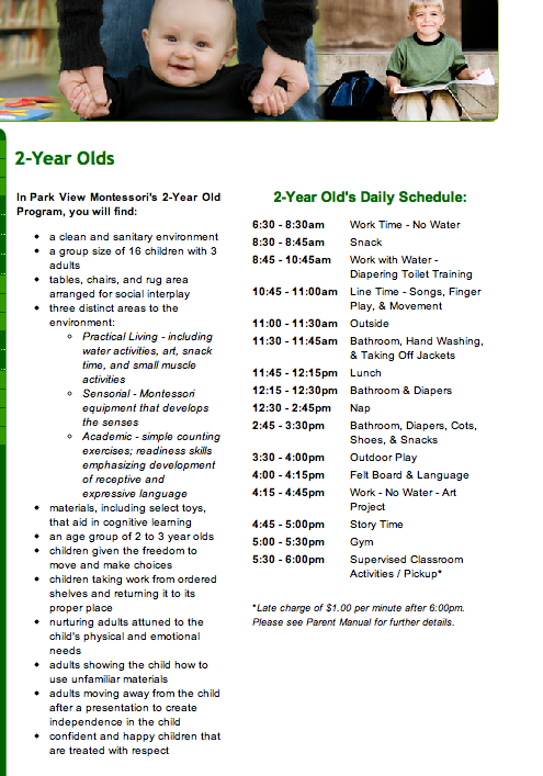 Daily Montessori schedule for a 2 year old from http//www