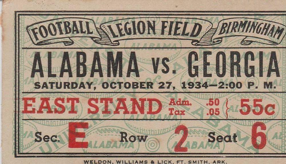 RARE- ALABAMA vs GEORGIA 1934 FOOTBALL GAME TICKET STUB NCAA #45 ...