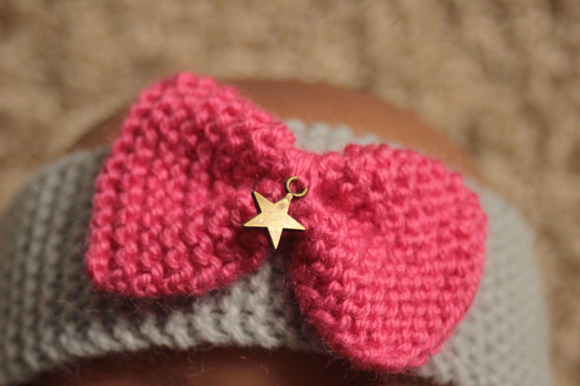 BébéChaussures Tricot Crochet , Image de Kitty Couleur Rose
