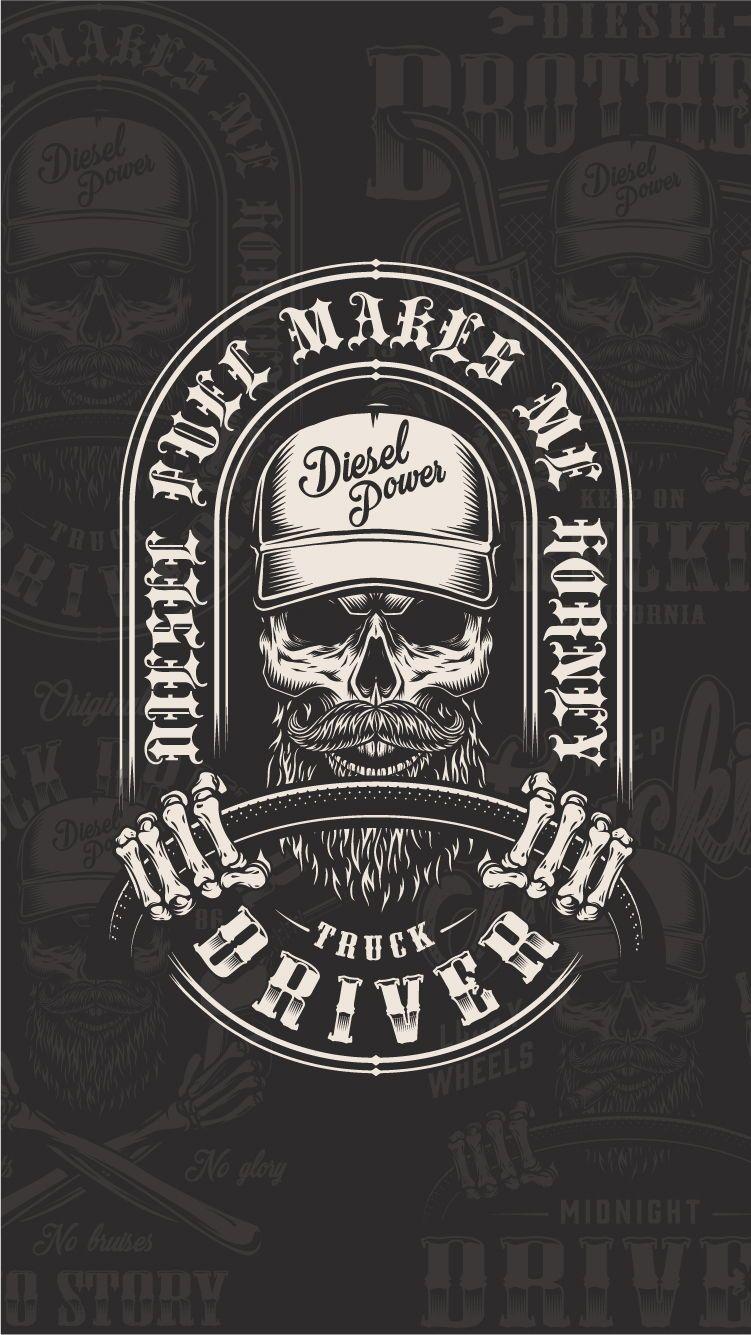 Truck Driver Emblems Collection Vintage tshirt design