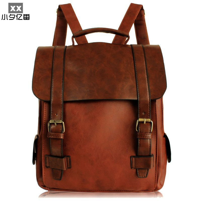 c727b2f57a3 Vintage PU Leather Men Backpacks Big Size Women Travel Bag Student Casual  Laptop Backpack School Bags for Teenager Girls A0144