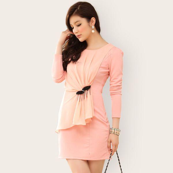 office ladies clothing wholesale ladies trendy dress k707 Pink