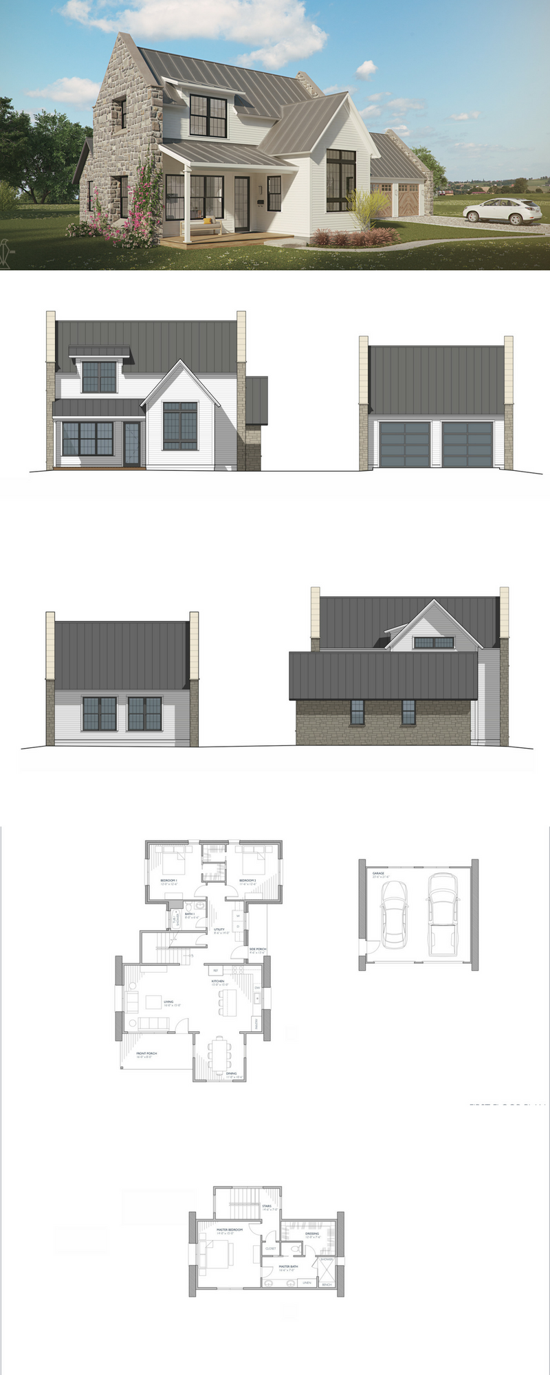 The Brune farmhouse house plan european