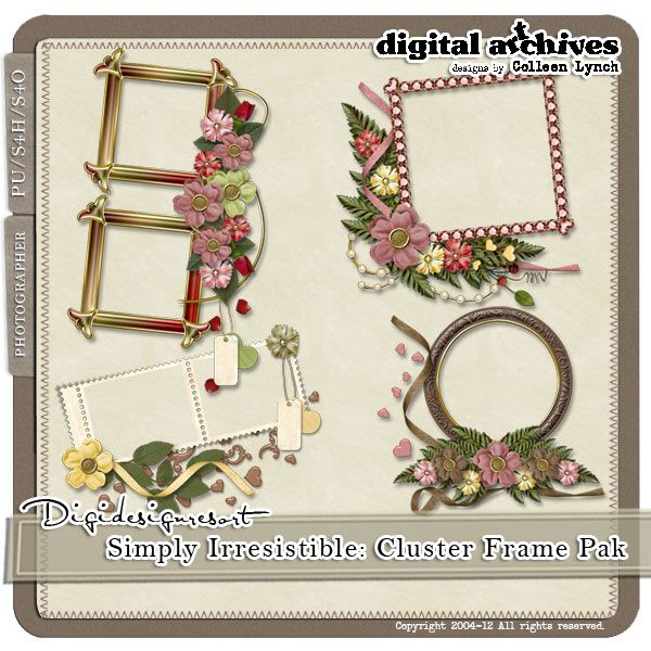 The Simply Irresistible Quick Cluster Frames includes 4 pre-clustered frames. Each cluster frame contains one or more photo frames and an artfully arranged selection of elements. These creative clusters save you time just like quick pages, but offer so much more flexibility.   http://www.digidesignresort.com/shop/designers-colleen-lynch-c-1_216/simply-irresistible-cluster-frame-pak-s4h-by-colleen-lynch-p-13651
