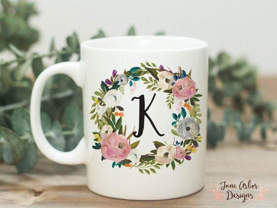 Initial Coffee Mug Monogram 11 Or 15 Oz