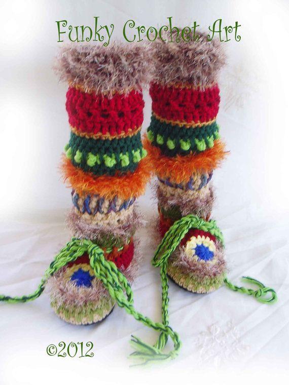 Crochet Slipper Boots/ Ladies Women Adult/ Leg by FunkyCrochetArt, $50.00
