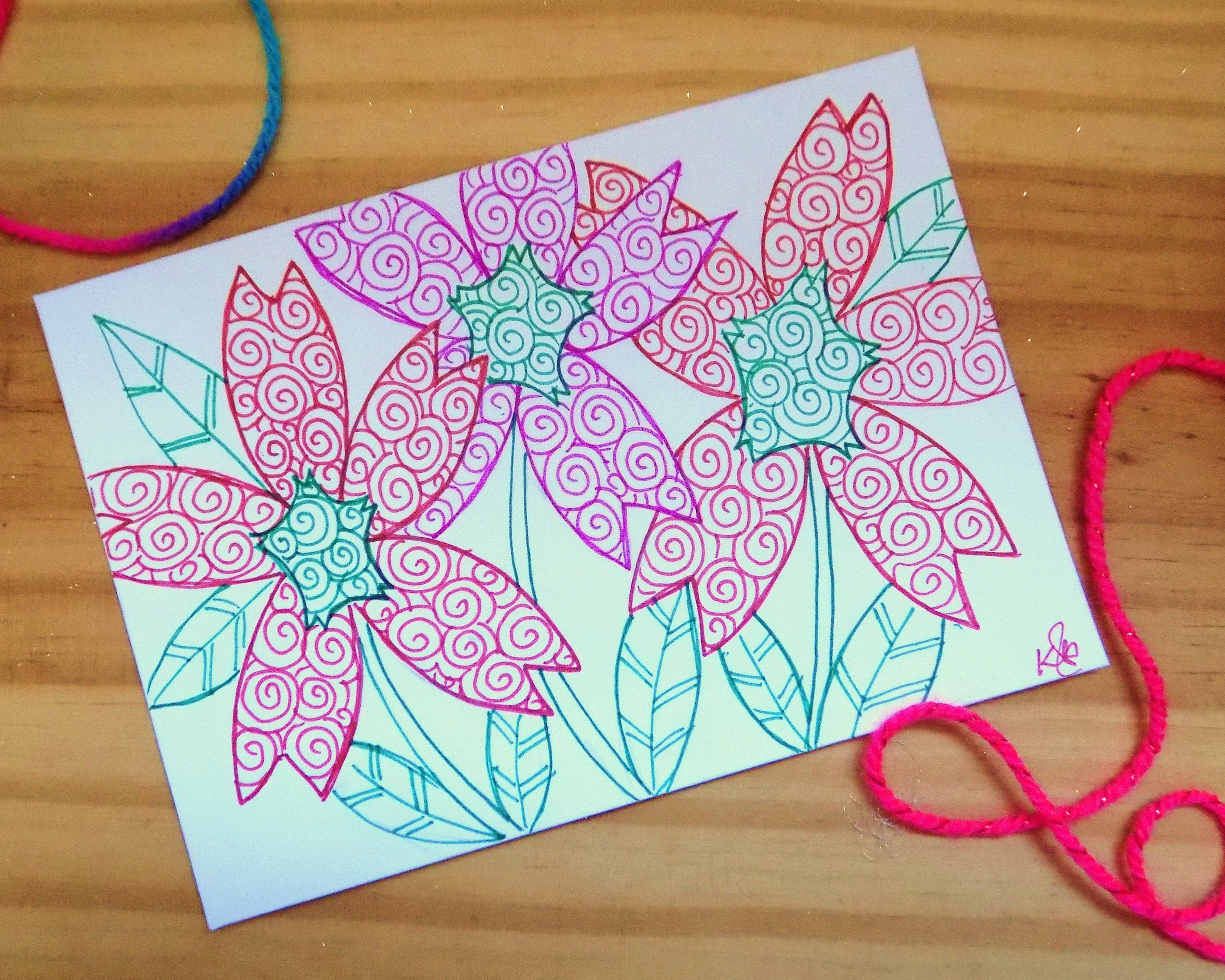 Floral note card flowers greetings card original abstract ink