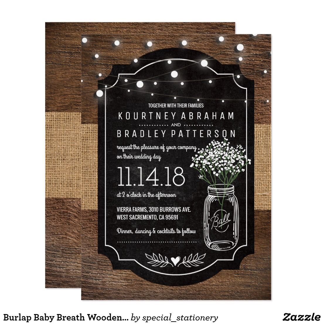 ideas for country wedding invitations%0A Rustic Baby u    s Breath Wooden Wedding   Mason Jar Card