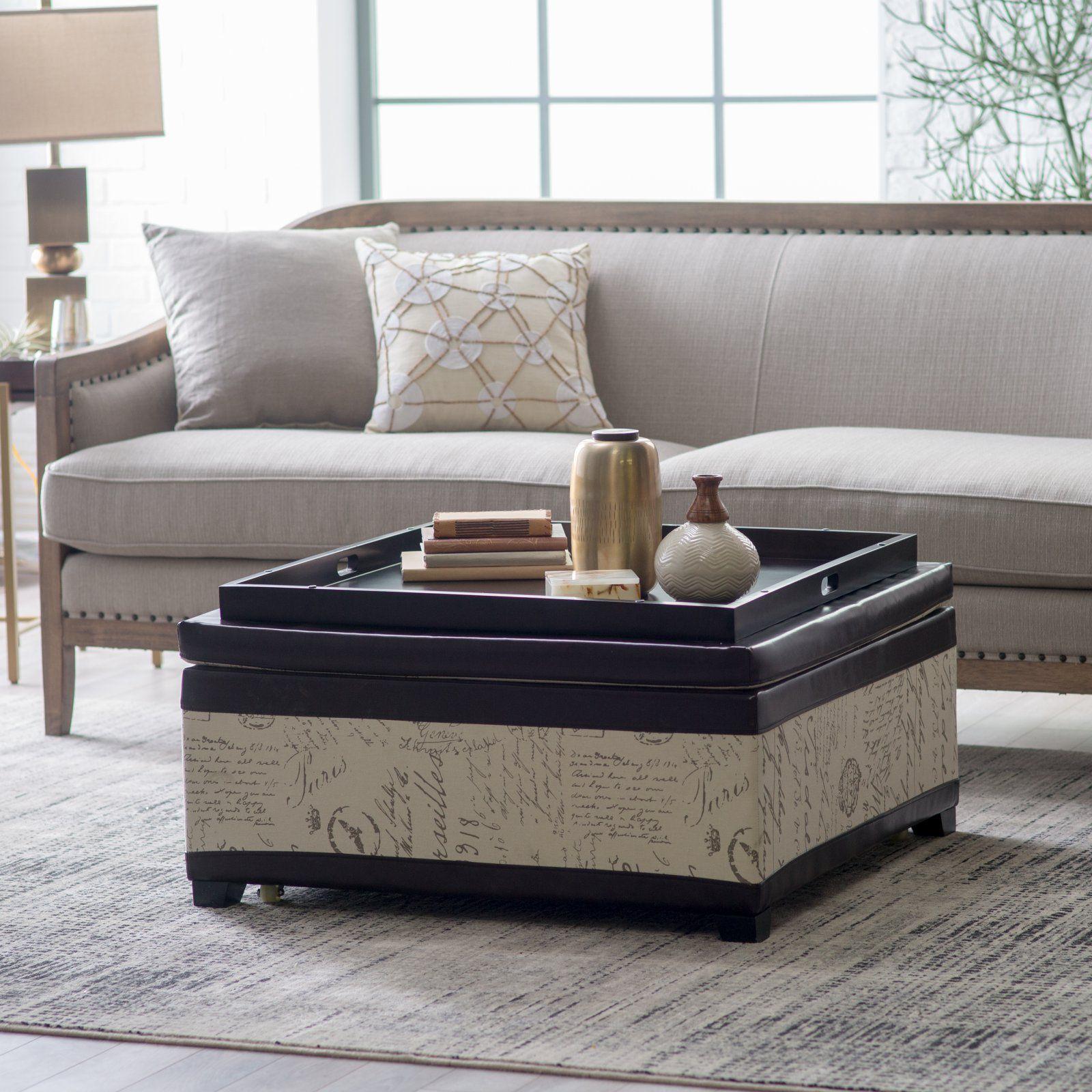 belham living corbett leather and linen coffee table storage ottoman rh pinterest com