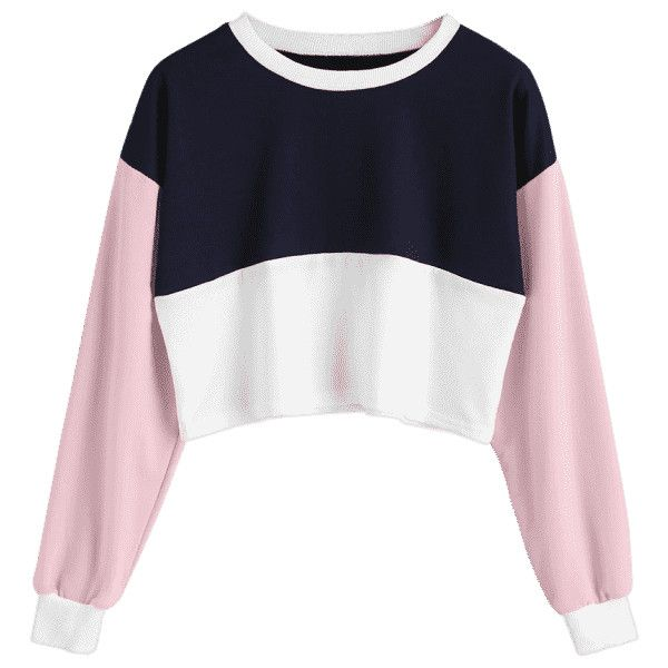 c3628fcadc46f3 Contrast Crop Sweatshirt ( 30) ❤ liked on Polyvore featuring tops ...