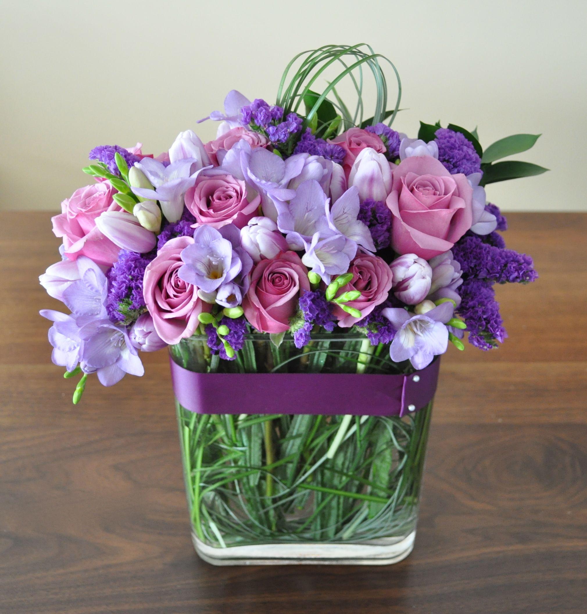 purple breeze with lavender freesias purple statice cool mist rh pinterest com