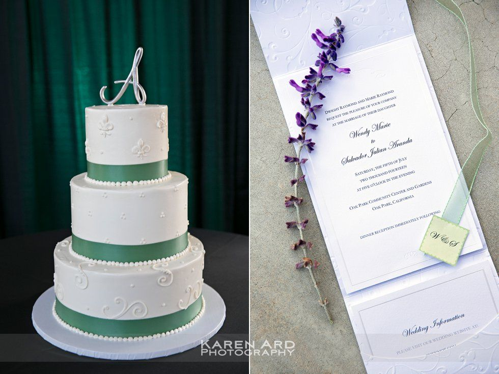 wedding cakes los angeles prices%0A ThreeTired White Cake with Green Ribbon   Oak Park Wedding   Los Angeles  Wedding