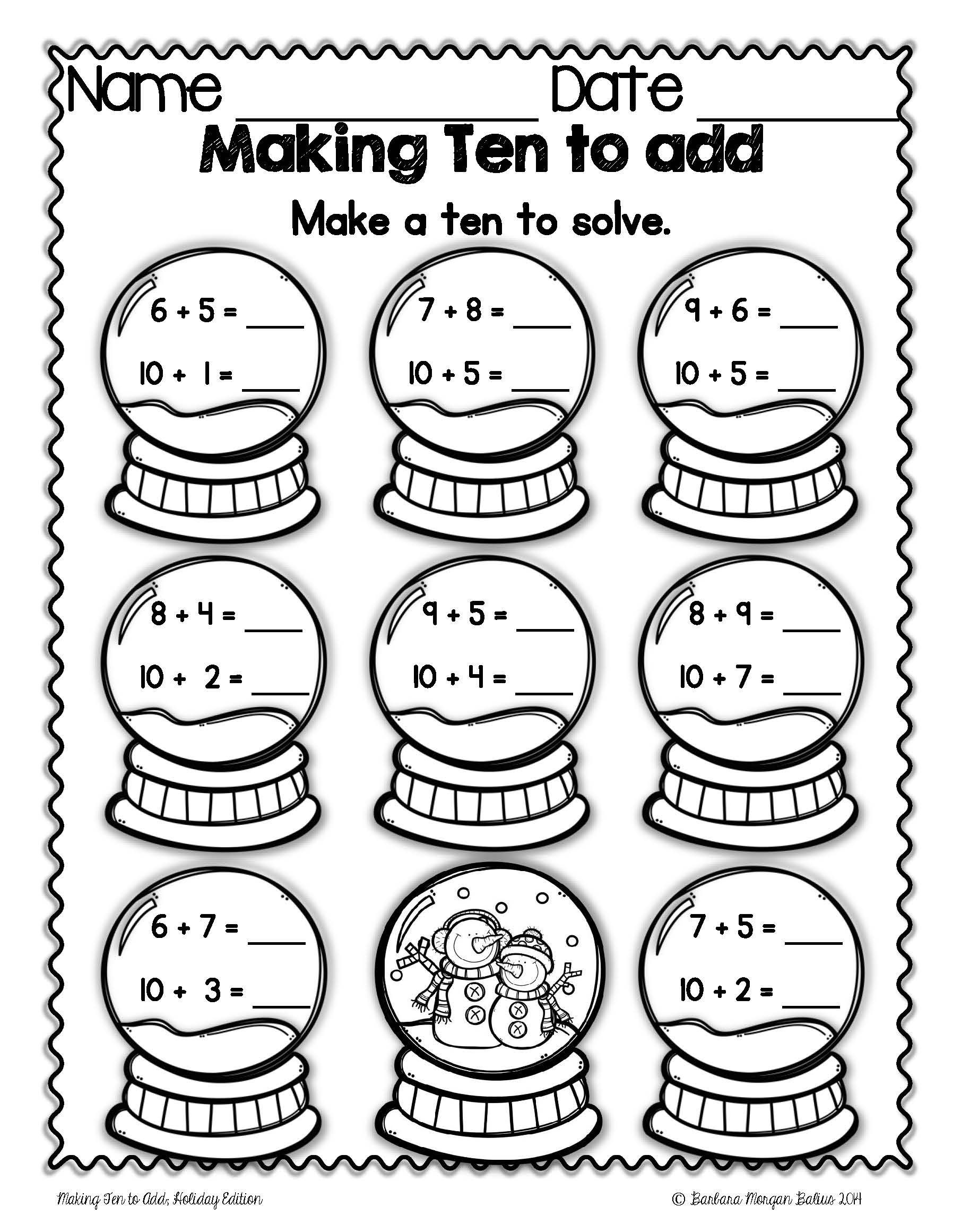 "Students ""make ten"" by breaking apart a smaller number and then adding the  rem…   Christmas math worksheets [ 2321 x 1811 Pixel ]"