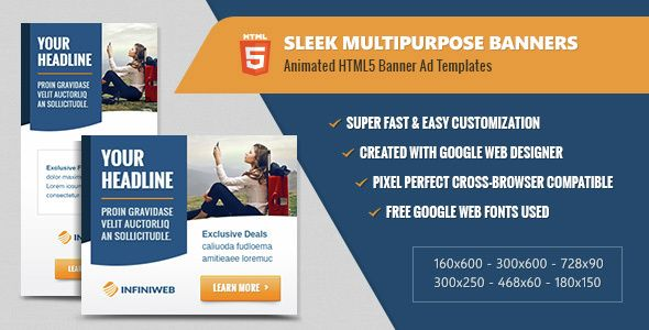 Sleek Multipurpose Banners - HTML5 Animated Ad Templates | banners ...