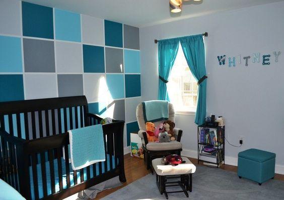 déco chambre bébé: mur à carreax bleu turquoise, bleu pétrole et ...