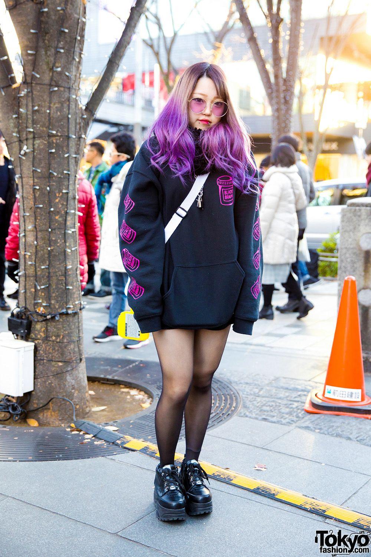 e044aeba7c6 Purple-Haired Harajuku Girl in Black Brain Hoodie   Yosuke Platform Sneakers