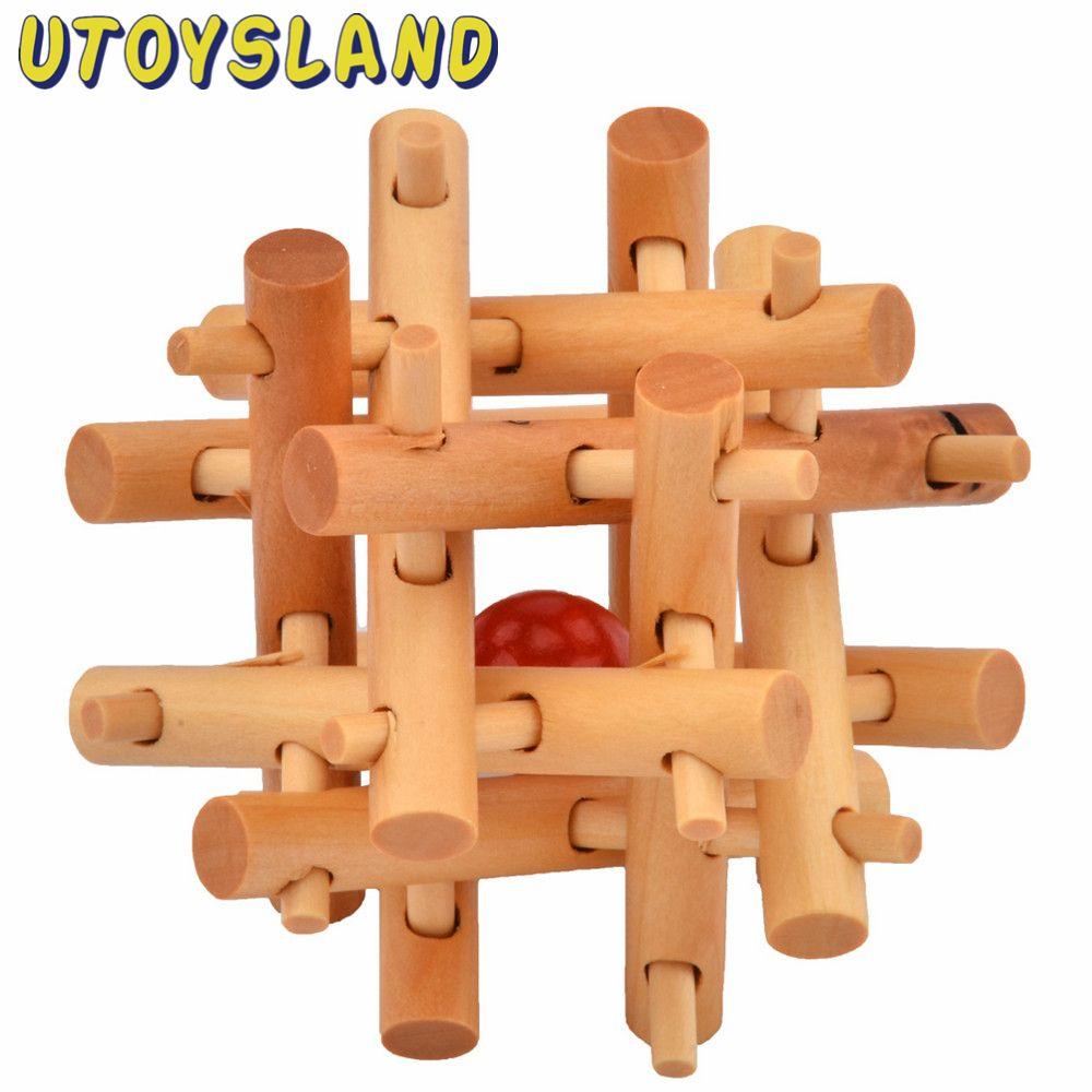 Utoysland Brain Training Toy 12 Dikke & Dunne Houten Kubus/Educatief Speelgoed Houten Puzzel Kong Ming/Luban Lock voor Volwassen Kinderen